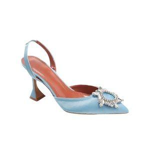 BRAND NEW Blue Satin & Crystal Mid Heels